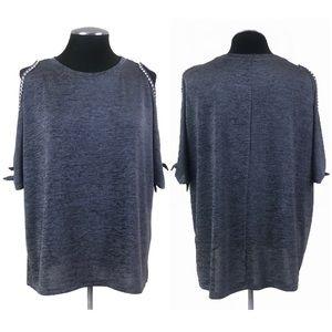 🆕 Juicy Couture - Rhinestone Cold Shoulder Stretch Top